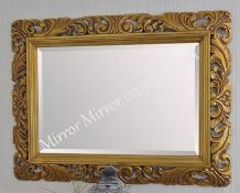 "Large Bright Silver Carved Ornate Bevelled Mirror - 6.5"" Wide Frame - Save ££s"